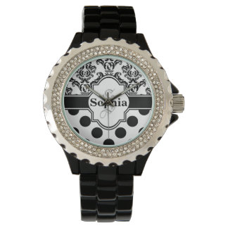 Black Vintage Damask Cute Polka Dots Watch