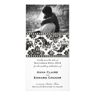 Black Vintage Damask Lace Save the Date Photo Greeting Card