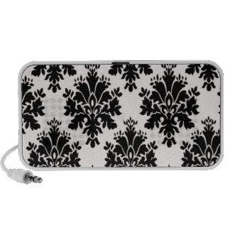 Black Vintage Damask Pattern iPhone Speaker