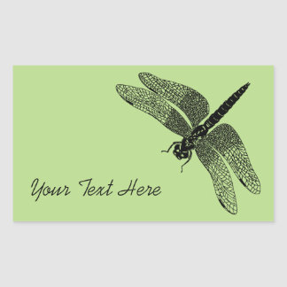Black Vintage Dragonfly Nature Art Rectangular Sticker