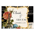 Black Vintage Eiffel Tower Rose Gift Registry Card