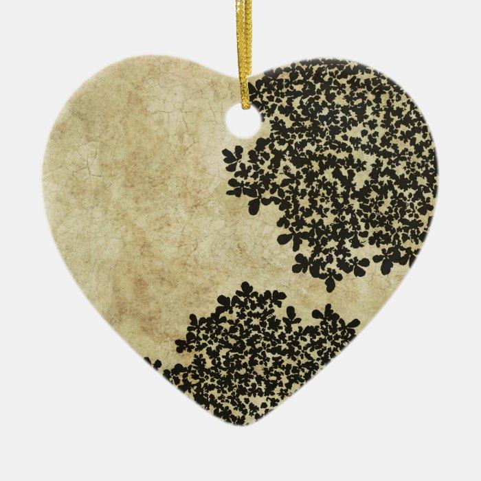 Black Vintage Floral Ceramic Heart Decoration