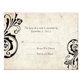 """Black Vintage Floral Chic Wedding RSVP 4.25"""" X 5.5"""" Invitation Card"""