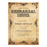 Black Vintage Floral Rehearsal Dinner Card Personalized Announcements