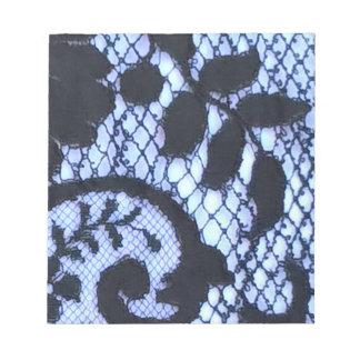 Black vintage lace fabric detail notepad