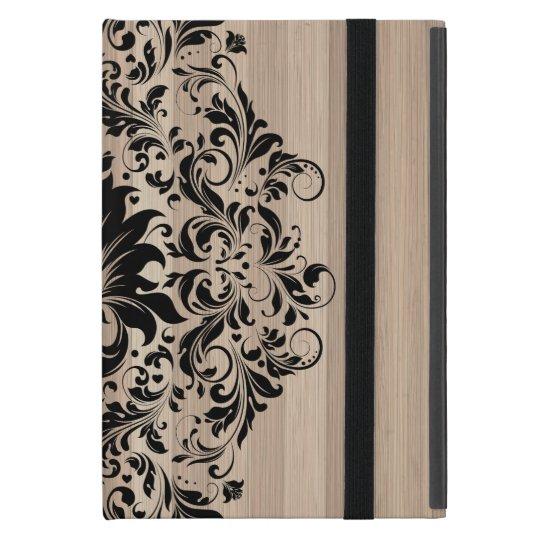 Black Vintage Lace Over Blonde Wood Texture iPad