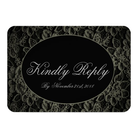 Black Vintage Lace Romantic Wedding RSVP Card
