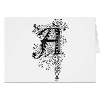 Black Vintage Monogram A Floral Swirls Greeting Card