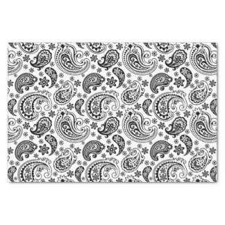 Black Vintage Paisley Over White Background Tissue Paper
