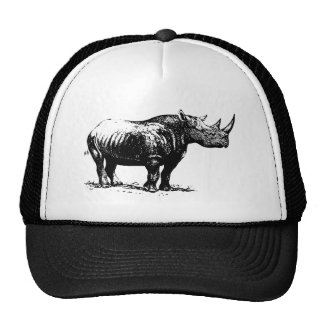 Black Vintage Rhinoceros Line Art Mesh Hats