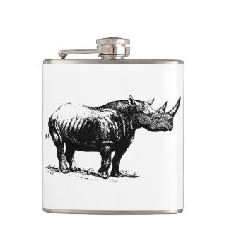 Black Vintage Rhinoceros Line Art Hip Flask