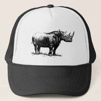 Black Vintage Rhinoceros Line Art Trucker Hat