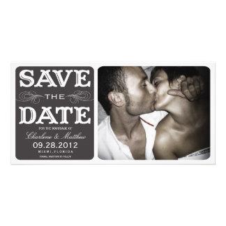 BLACK VINTAGE  | SAVE THE DATE ANNOUNCEMENT CUSTOM PHOTO CARD