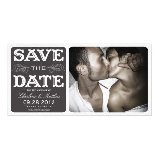 BLACK VINTAGE SAVE THE DATE ANNOUNCEMENT PHOTO CARD