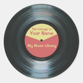Black Vinyl Music Library Record Label Stickers