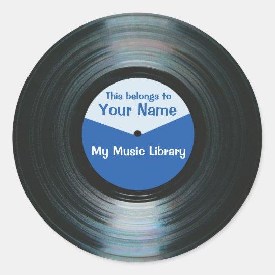 Black Vinyl Music Record Label Stickers Blue