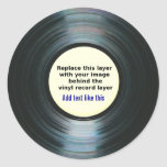 Black Vinyl Music Record Label With Your Photo Round Stickers