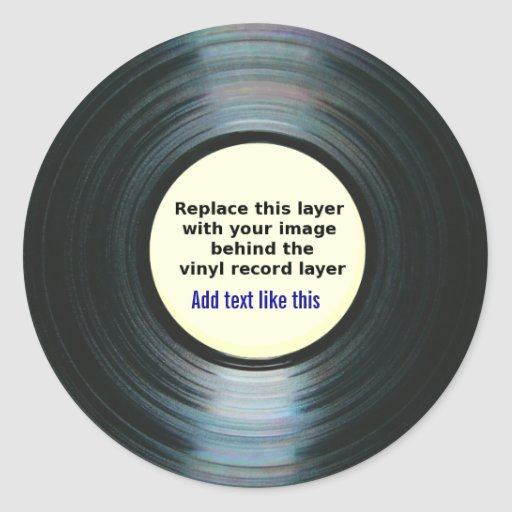 Black Vinyl Music Record Label With Your Photo Sticker