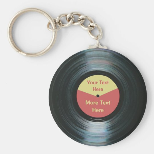 Black Vinyl Music Red and Yellow Record Keyring