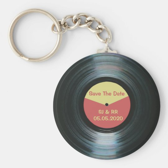 Black Vinyl Music Wedding Save The Date Keyring Basic Round Button Key Ring