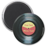 Black Vinyl Music with Red and Yellow Record Label
