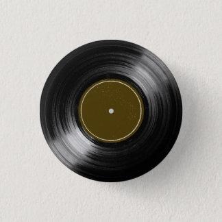 black vinyl record 3 cm round badge