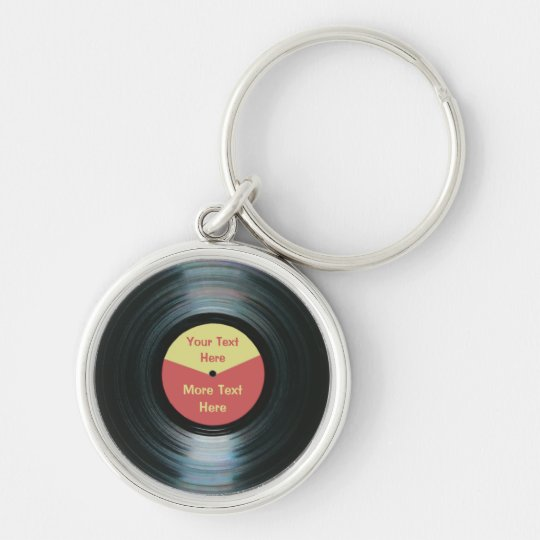 Black Vinyl Record Keyring Silver Colour Keychain