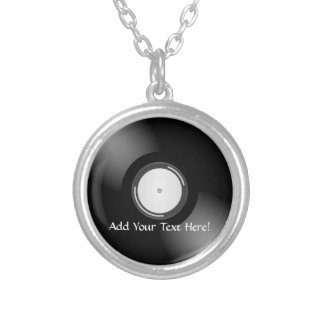 Black Vinyl Record Personalized Music Necklace