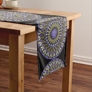 Black Violet Purple Faux Gold Mandala Pattern Medium Table Runner
