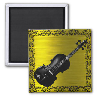 BLACK VIOLIN ON GOLD -magnet Magnet