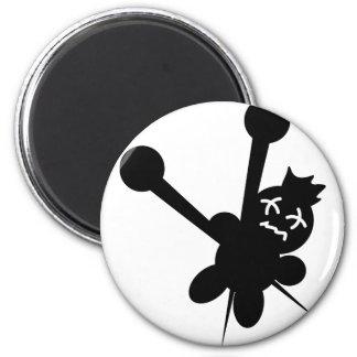 black voodoo doll needles torture 6 cm round magnet