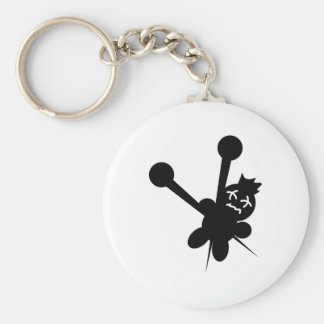 black voodoo doll needles torture basic round button key ring