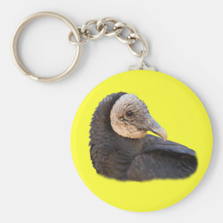 Black Vulture Basic Round Button Key Ring