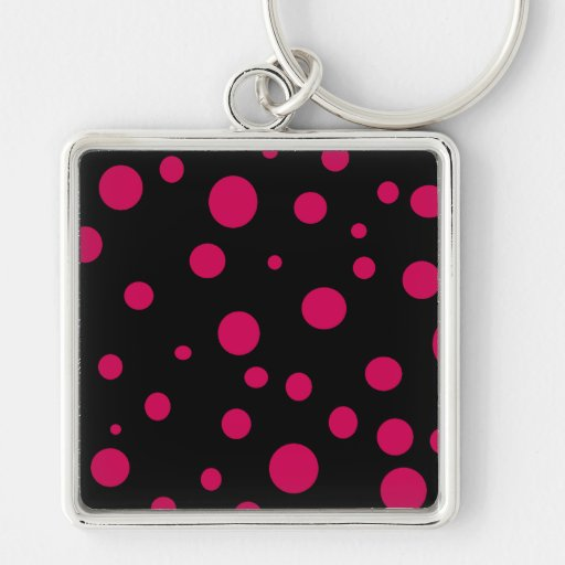 Black w Hot Red Pink Polka Dots Customizable Key Chain