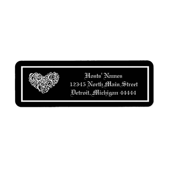 Black w/White Swirly Heart - Postage Stamp Return Address Label