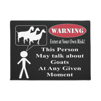 Black Warning This Person May Talk About Goats Doormat