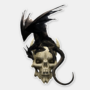 Black Warrior Dragon on Demon Skull