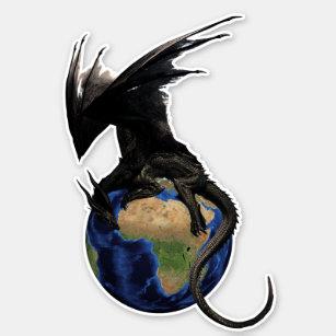 Black Warrior Dragon on World Globe