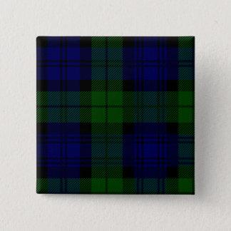 Black Watch clan tartan blue green plaid 15 Cm Square Badge