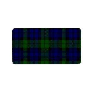 Black Watch clan tartan blue green plaid Address Label