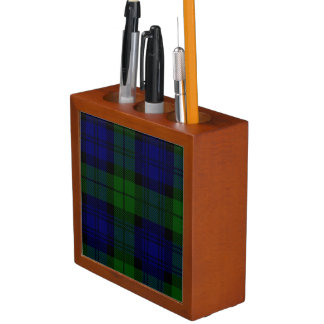 Black Watch clan tartan blue green plaid Desk Organiser
