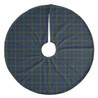 Black Watch clan tartan blue green plaid Fleece Tree Skirt