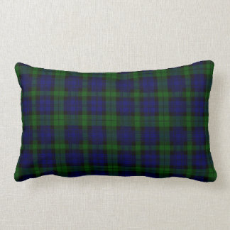 Black Watch clan tartan blue green plaid Lumbar Cushion