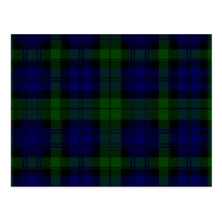 Black Watch clan tartan blue green plaid Postcard