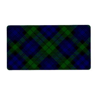 Black Watch clan tartan blue green plaid Shipping Label