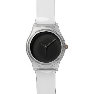 Black Watch Face with Clear Wrist Straps