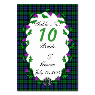 Black Watch Military Celtic Wedding Table Number Table Cards