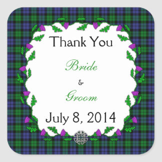 Black Watch Military Celtic Wedding Thank You Square Sticker
