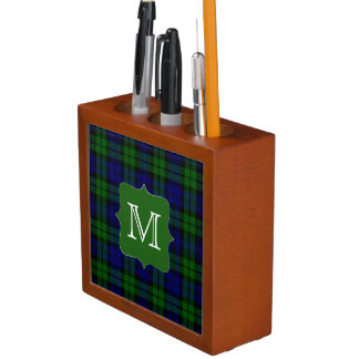 Black Watch Plaid with Monogram Desk Organizer