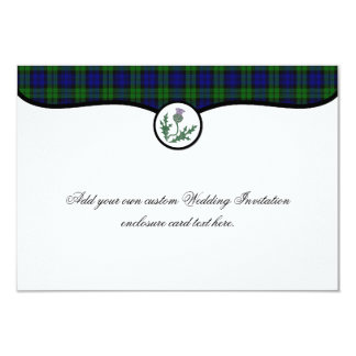 Black Watch Tartan and Thistle Wedding Enclosure 9 Cm X 13 Cm Invitation Card